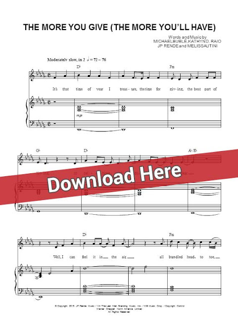michael buble, the more you give, the more you'll have, sheet music, piano notes, score, chords, download, keyboard, guitar, tabs, klavier noten, partition, how to play, learn, guide, tutorial, lesson