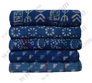 Wholesale Vintage Indigo Kantha Quilt Blue Colour Reversible Kantha Throw