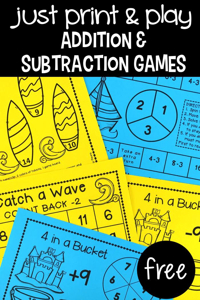 Addition & Subtraction Games - Primary Flourish