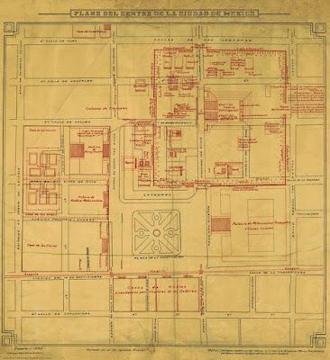 Plano de la Ciudad de México sobreponiendo construcciones antiguas