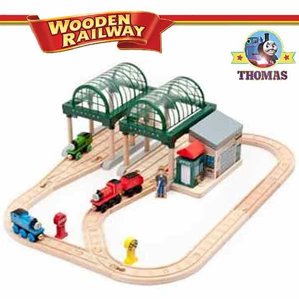 talking thomas and friends wooden railway train set knapford station train thomas the tank. Black Bedroom Furniture Sets. Home Design Ideas