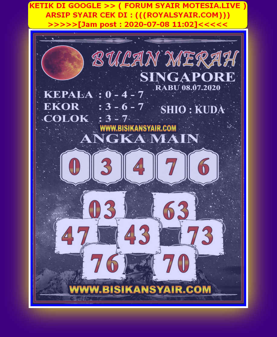 Kode syair Singapore Rabu 8 Juli 2020 86
