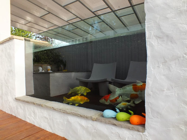 Koi Pond showing the window