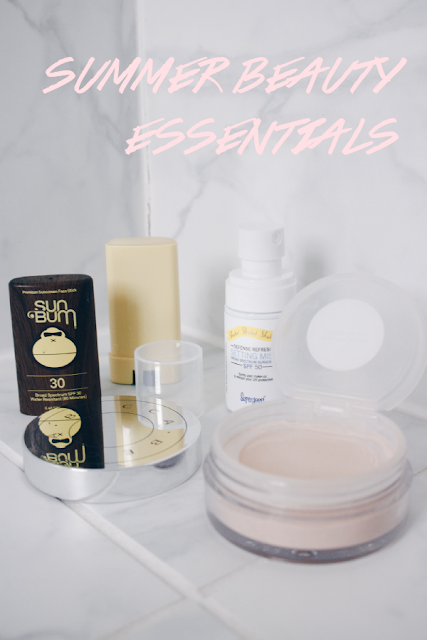 beauty products for summer featuring sun bum face stick sunscreen, supergoop setting mist, and becca hydra-mist setting powder