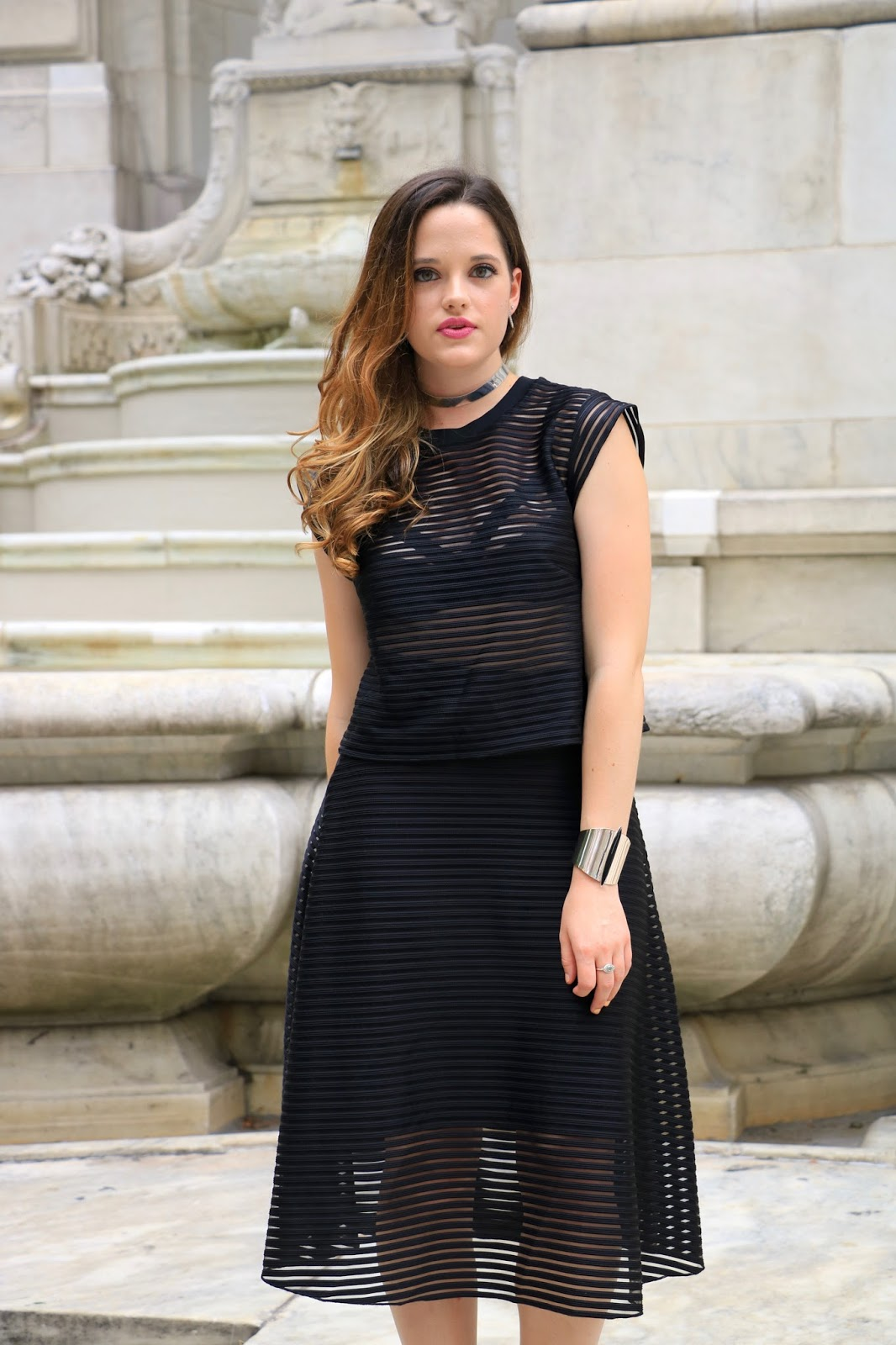 NYC fashion blogger Kat's Fashion Fix wearing a see through mesh outfit