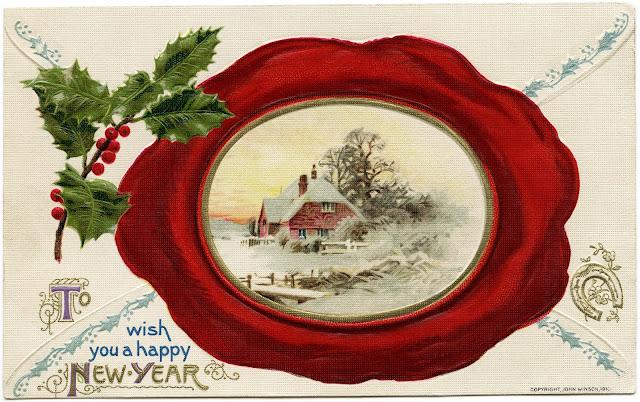 Postal antigo Bom Ano Novo