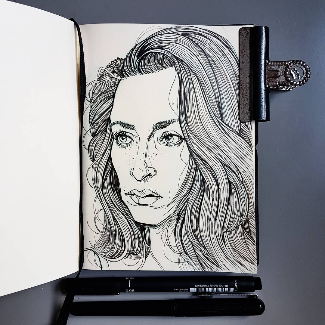 Drawing sketchbook Oona Chaplin