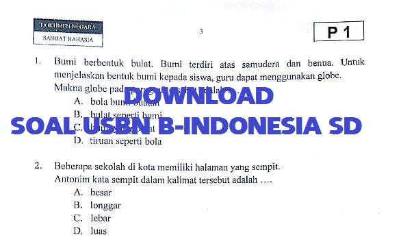 Soal Latihan dan Pembahasa Soal USBN Bahasa Indonesia SD Tahun 2020 TP 2019/2020