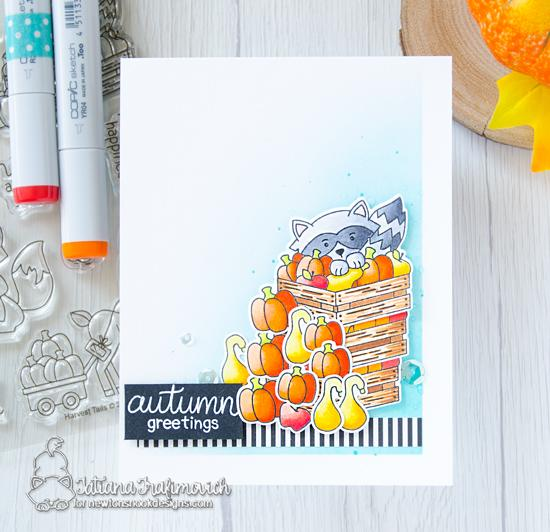 Fall Raccoon card by Tatiana Trafimovich | Harvest Tails Stamp Set by Newton's Nook Designs #netwonsnook #handmade
