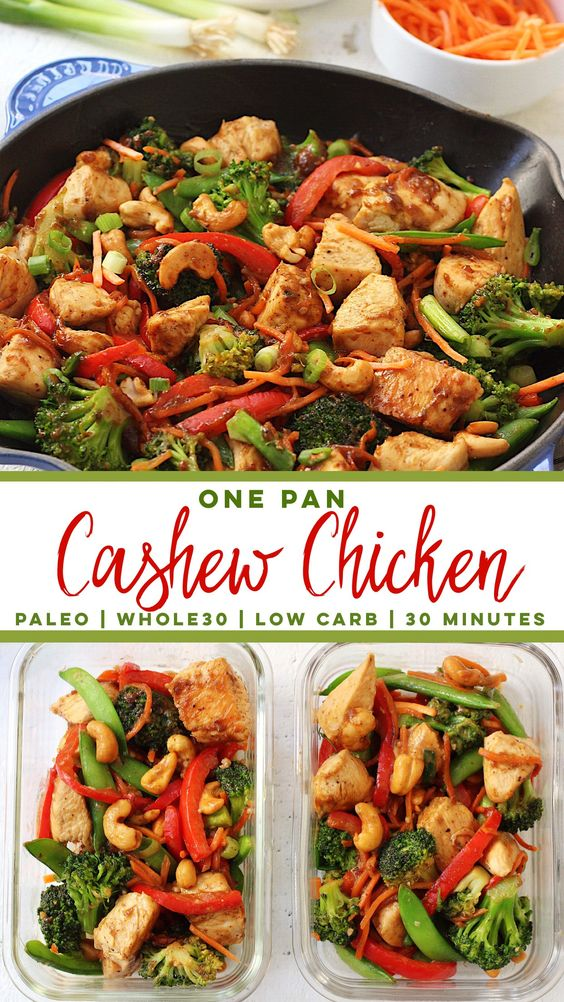 Paleo Cashew Chicken Skillet (Whole30, One Pan, 30 Minutes)