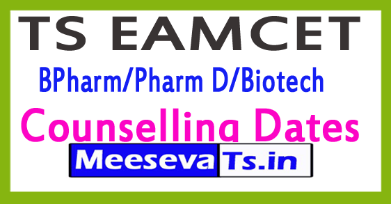 TS EAMCET BPharm/Pharm D/Biotech Counselling Dates 2017