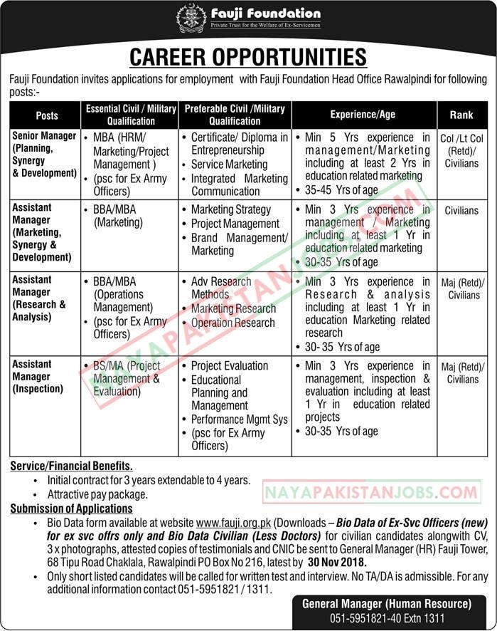 Latest Vacancies Announced in Rawalpindi Fauji Foundation 14 November 2018 - Naya Pakistan