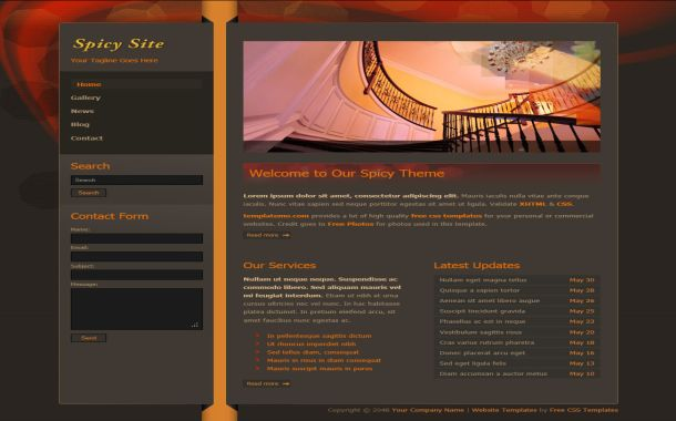 Free Red Brown Abstract CSS Website Template