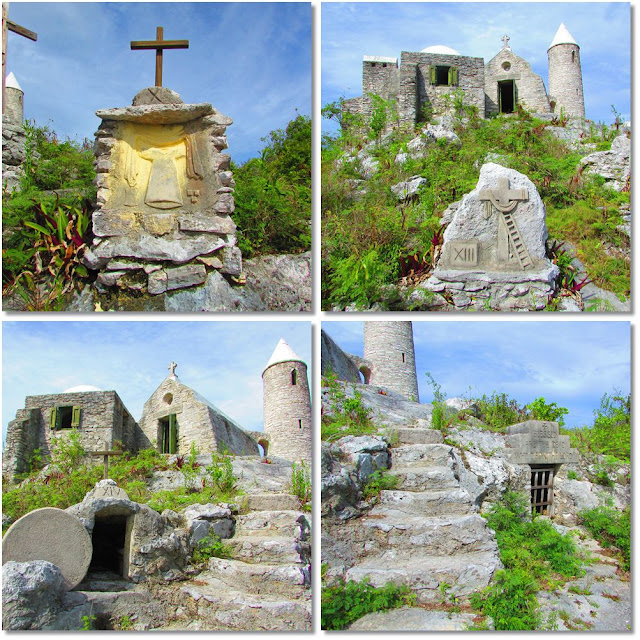Stone stations of the cross line the path to Mount Alvernia hermitage.