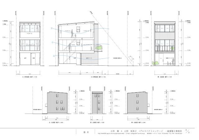 ローコストで建てるすがすがしい木造三階建て狭小都市型住宅 断面・立面計画