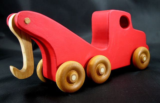 Handmade Wooden Toy Tow Truck From The Quick N Easy 5 Truck Fleet - Red Version - Right Rear View