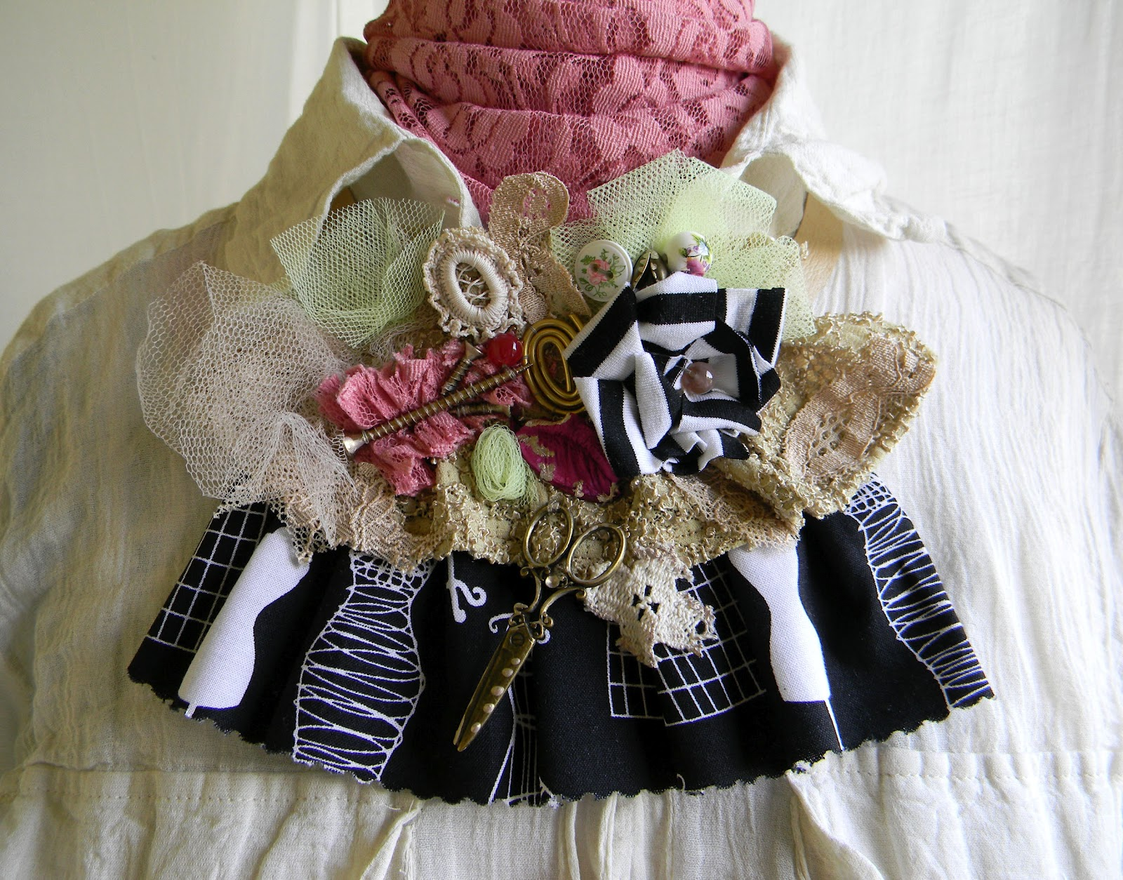 Steampunk Jabot/Upcycle Contrast Collar/Jabot
