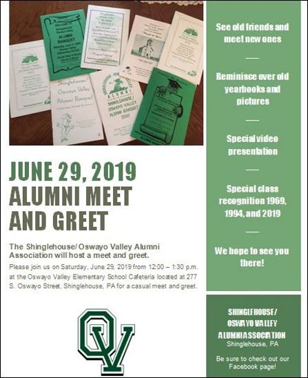 6-29 Shinglehouse/ Oswayo Valley Alumni Meet & Greet