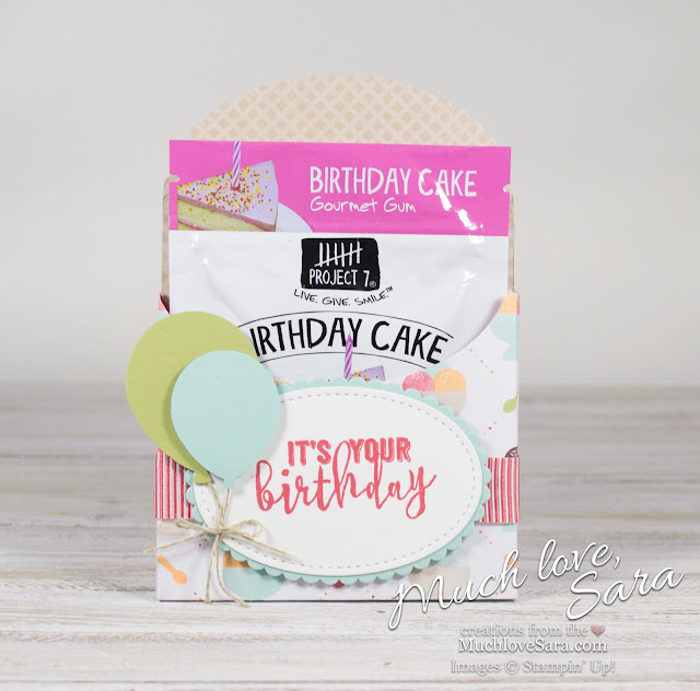 Tiny Birthday Gift Pocket | Made with Stampin' up Tasty Treats DSP and Balloon Adventures Stamp Set