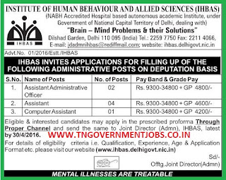 Applications are invited for Administrative Jobs in IHBAS under deputation method