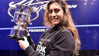أول لاعبة إسكواش مصرية تتوج بلقب بطولة العالم للإسكواش هي نور الشربينى