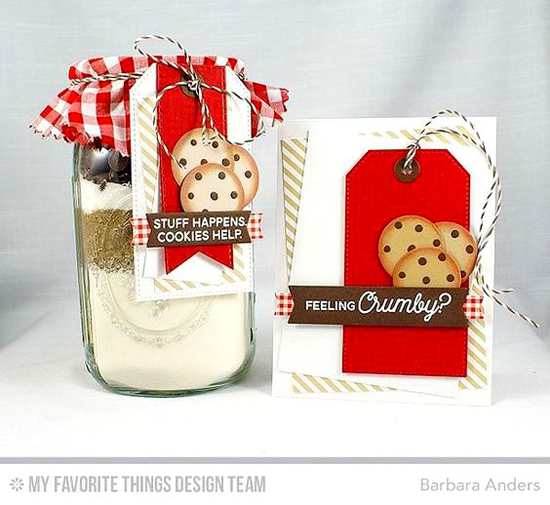 Handmade card and gift from Barbara Anders featuring Laina Lamb Design Cookie Crumbs stamp set,  Diagonal Chevron Background stamp, Blueprints 12 Blueprints 27, Blueprints 29, Stitched Fishtail Flag STAX, Stitched Traditional Tag STAX, Tag Builder Blueprints 2, and Laina Lamb Design You're the Milk to My Cookie Die-namics #mftstamps