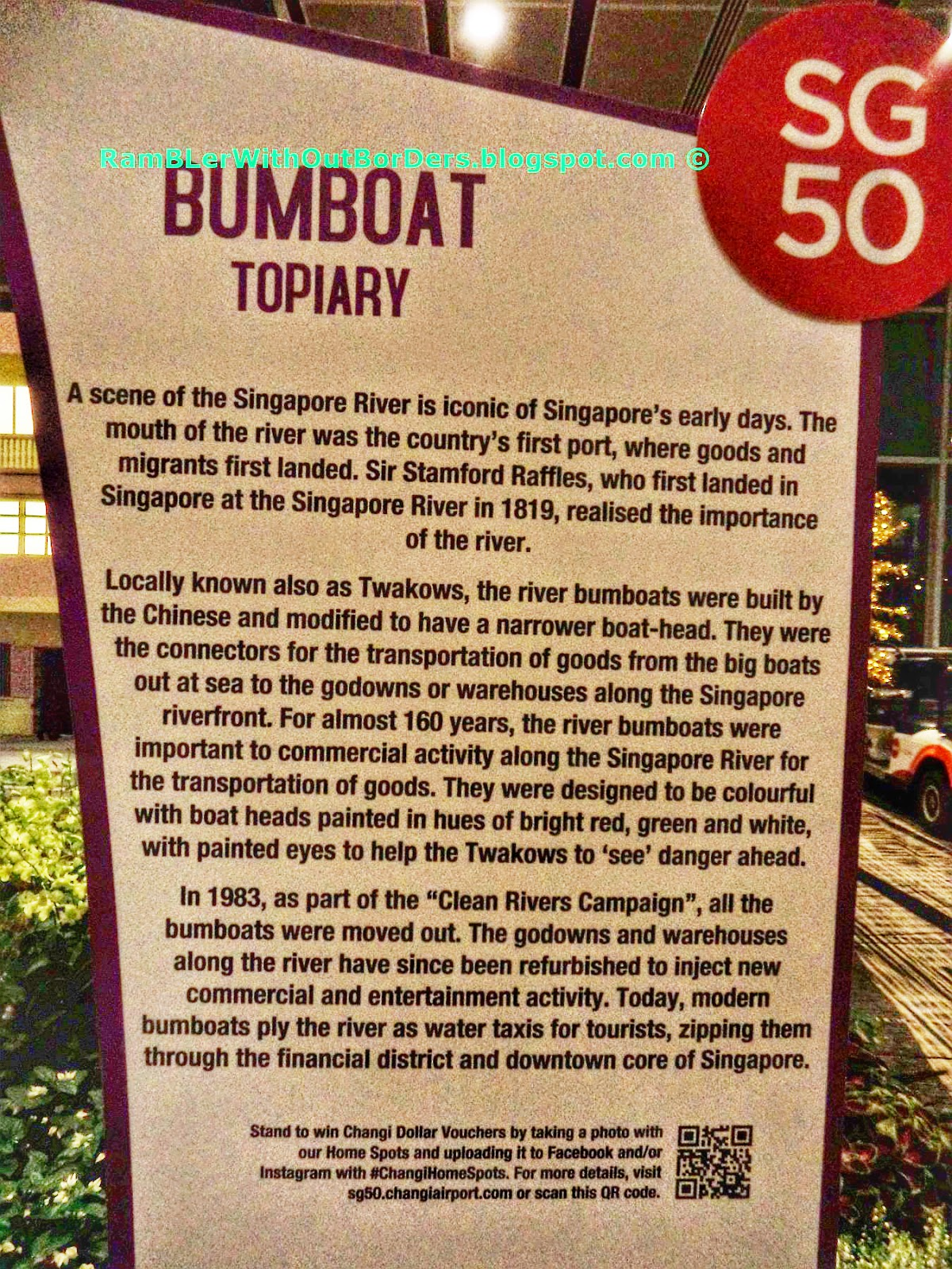 Explanation board, Bumboat topiary exhibit, Departure Hall, T3, Changi Airport, Singapore