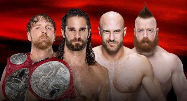 Seth Rollins & Dean Ambrose Vs Sheamus & Cesaro Live