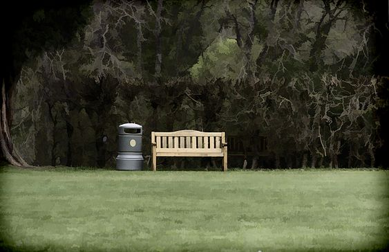 A trash can and wooden bench - Fine Art America
