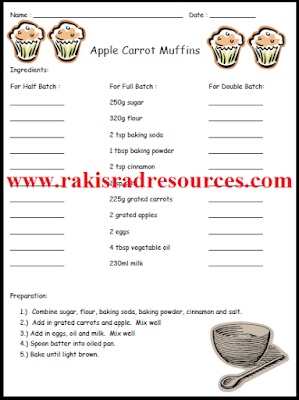 Free math center for doubling and halving with apple carrot muffin recipe - from Raki's Rad Resources.