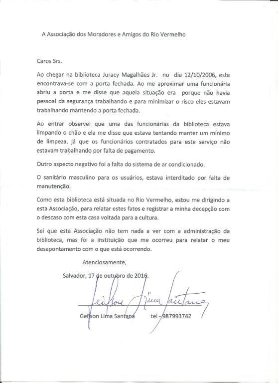 Um frequentador da Biblioteca encaminhou carta a Associação dos Moradores e Amigos do Rio Vermelho (Amarv)