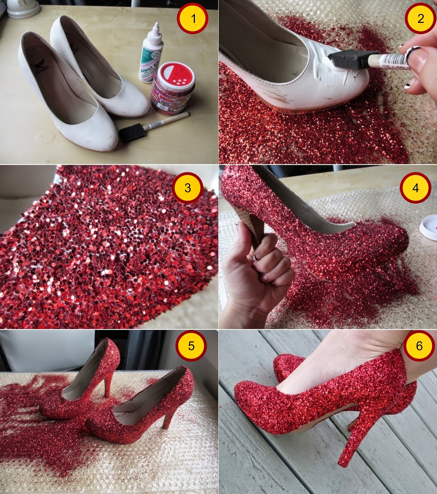 (DIY) Red Glitter Heels with Silver Accents. Hi everyone. This is my first shoe tutorialDIY. HOPE YOU ENJOY IT!!! Subscribe if you would like more shoe tutorials videos!:) Store.