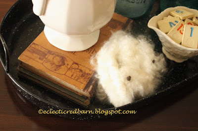 Eclectic Red Barn: Adding cotton to my vignette