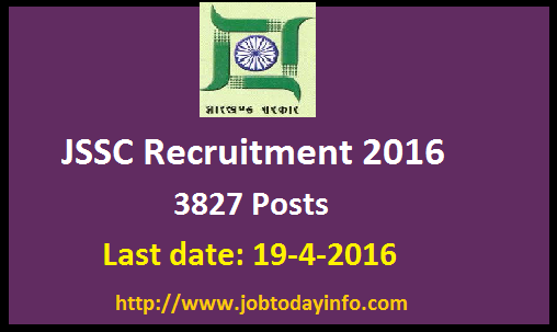 JSSC Recruitment 2016 – Apply online for 3827 LDC, Amin & Revenue Clerk Posts