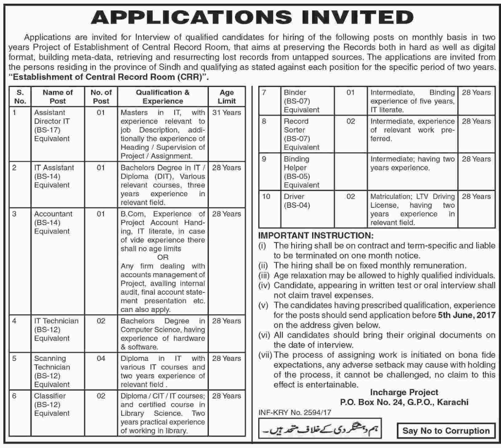 Bps-4 To Bps-17 jobs in Services And General Administration Department 15 may 2017
