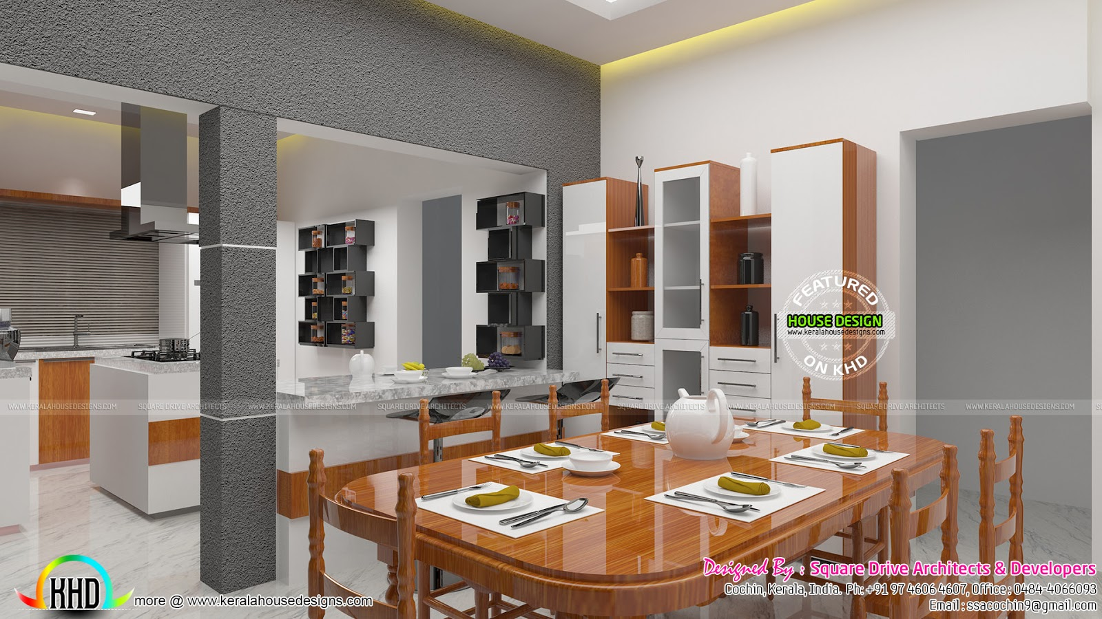 Open Kitchen With Dining And Bedroom Interior Kerala