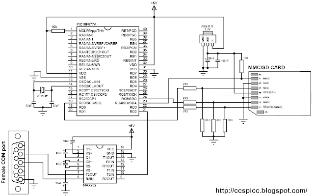 Interfacing PIC16F877A with FAT16 SD card circuit