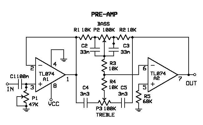 Schematic Circuit Electronics: Pre-Amp Circuit