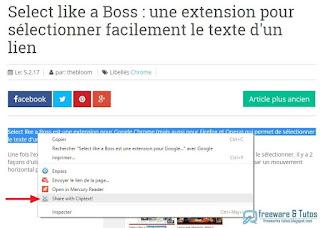 Cliptext : une extension Chrome