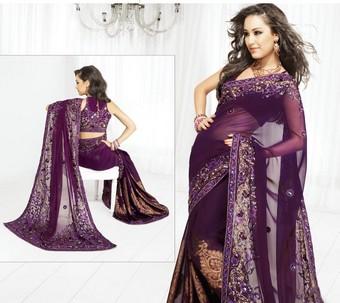 Dark Purple Saree