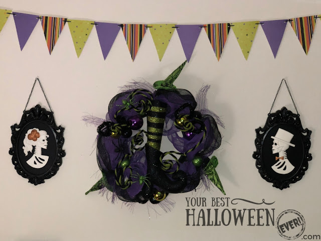 Halloween decorations with DIY paper pennant banner
