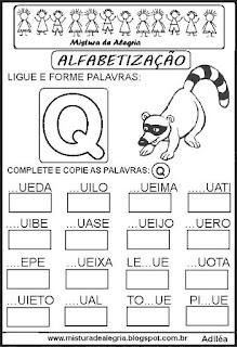 Atividades de alfabetização letra Q