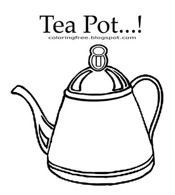 Drink clipart outline easy image with words old fashioned teapot kids coloring pages to color online