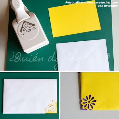 Personalización de sobres para invitaciones de boda con troquel