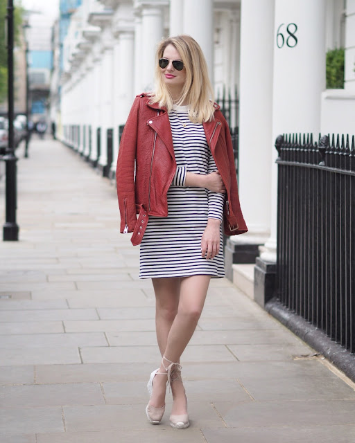 summer wardrobe key pieces, summer staples, maje red leather jacket, maje red biker jacket, breton stripe dress, castaner espadrilles, how to wear espadrilles, london street style, chrissabella