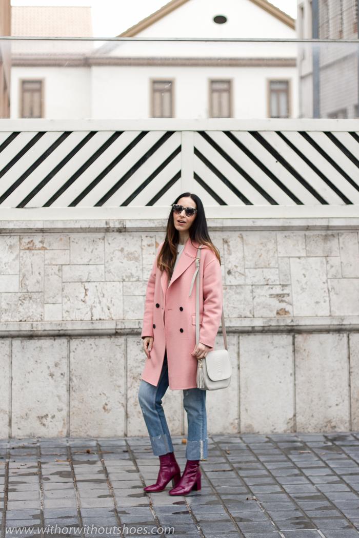 Blogger influencer instagramer valencia lifestyle mama bolso personalizado Botines rojos eans Customizados perlas abrigo rosa Zara