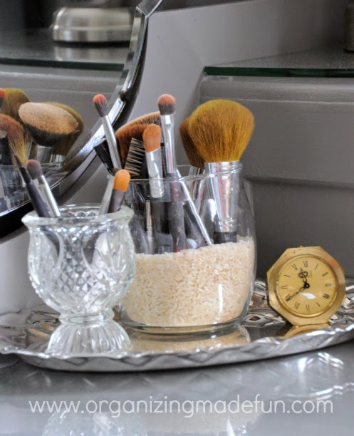 Silver tray with vases for organizing make up brushes :: OrganizingMadeFun.com