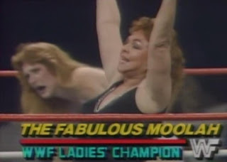WWF / WWE WRESTLEMANIA 2 - The Fabulous Moolah celebrates her win over Velvet McIntyre