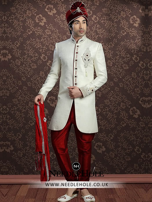 Pakistani Groom Sherwani In Off White Color Embellished Collar Front And Sleeves