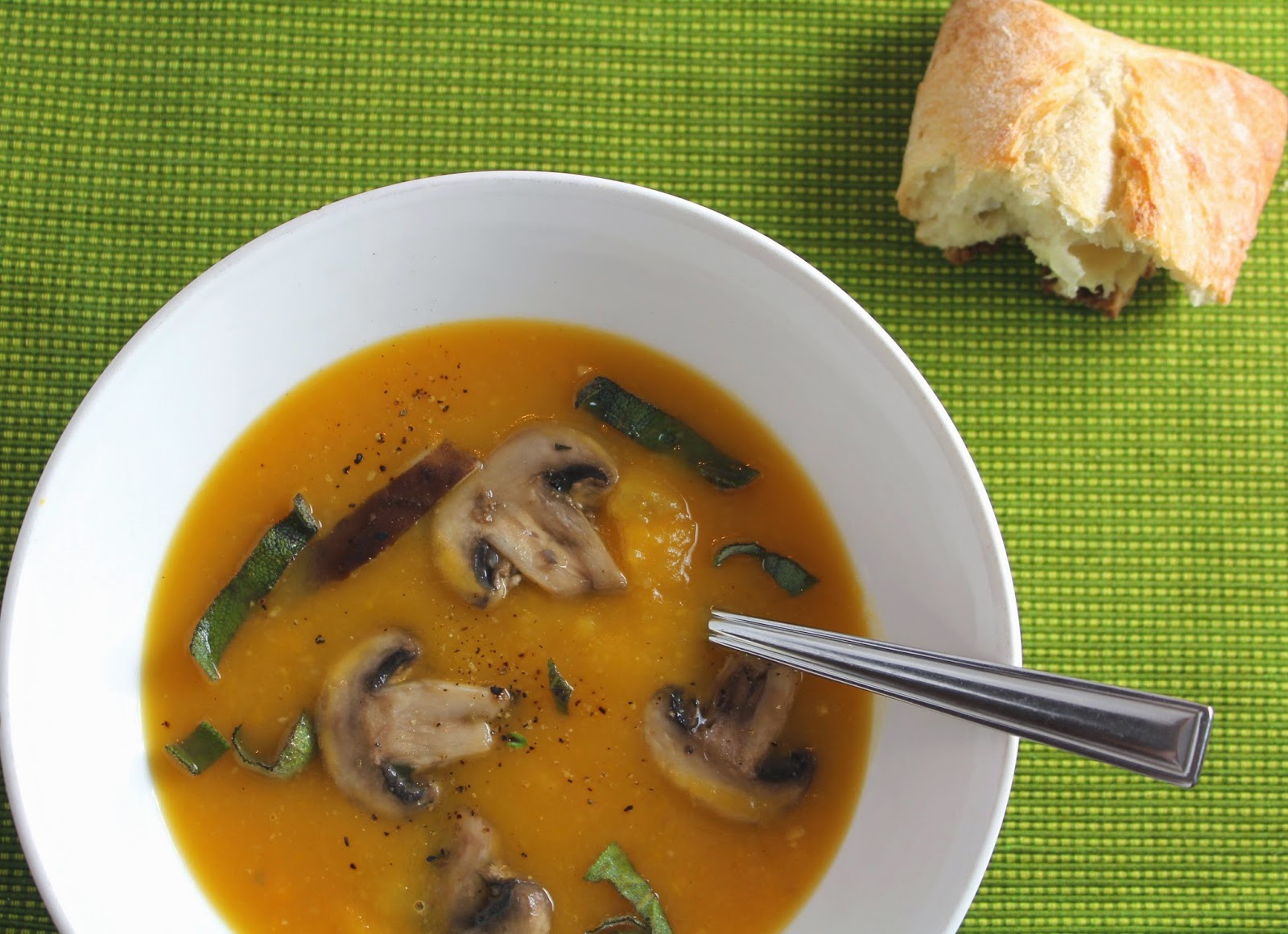 Butternut Squash Soup with Sage and Mushrooms for #SundaySupper